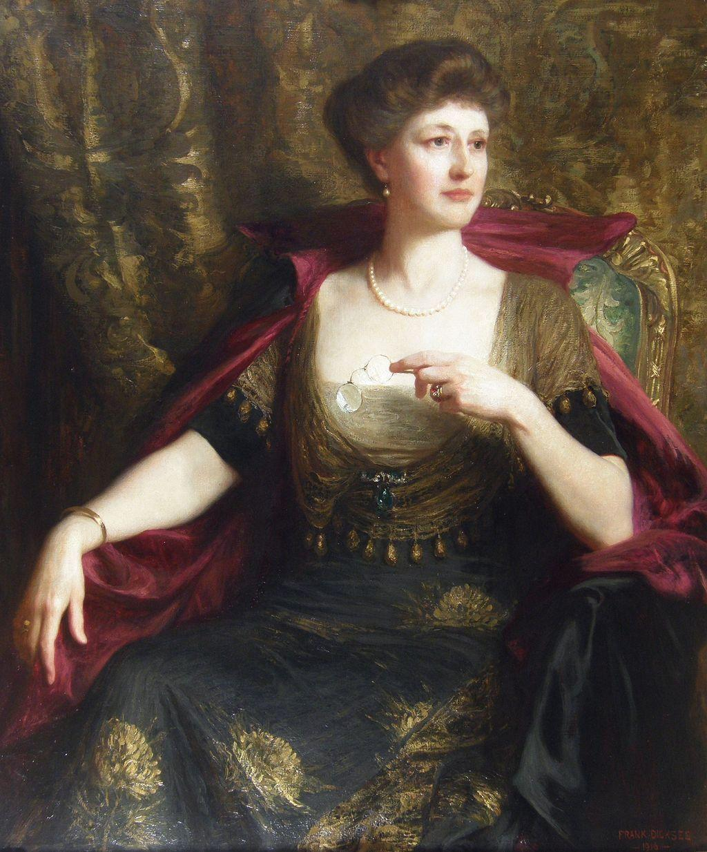 Sir Francis Bernard `Frank` Dicksee (British 1853-1928) Edwardian, Portrait of Lady Wood Oil on Canvas