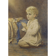 "Catherine B Gulley (British fl.1908-1928) ""Speak Lord"": A portrait of a child praying Watercolor"