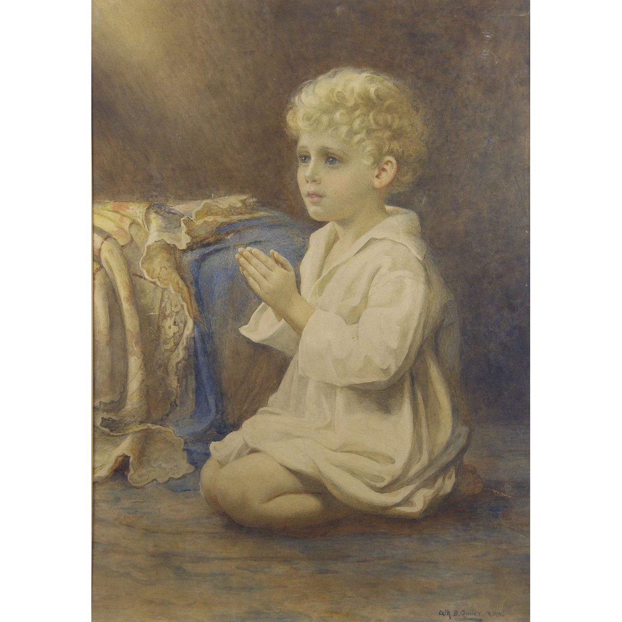 """Catherine B Gulley (British fl.1908-1928) """"Speak Lord"""": A portrait of a child praying Watercolor"""