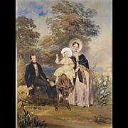 Edward J Harding (Irish 1804-1870); A Family Portrait (1839) Watercolor