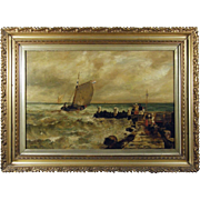 Richard Harry Carter RI (British 1839-1911) Coastal Marine Scene Antique Oil on Canvas