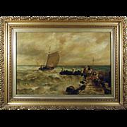 Richard Harry Carter RI (British 1839-1911) Coastal Marine Scene Antique Oil on Canvas