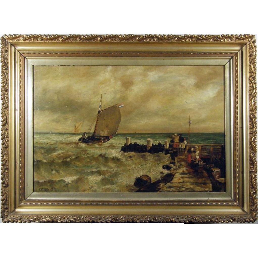 Richard Harry Carter RI (British 1839-1911) Coastal Marine Scene Oil on Canvas
