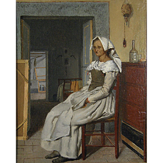 19th Century Antique Continental School The Reluctant Model Oil on Canvas