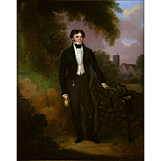 19th Century English Portrait Man in a Landscape Oil on Panel