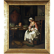 Mid 19th Century Continental School The Kitchen Maid Oil on Panel