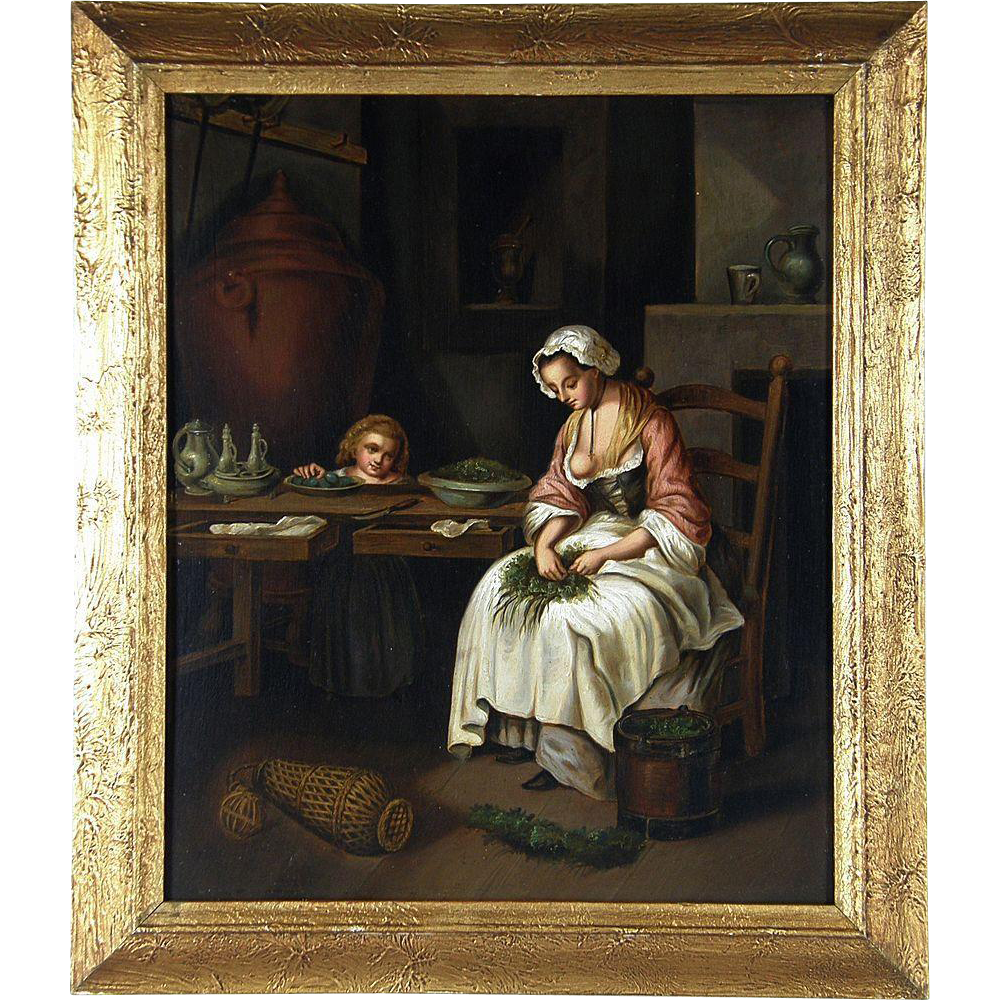Mid 19th Century Continental School The Kitchen Maid