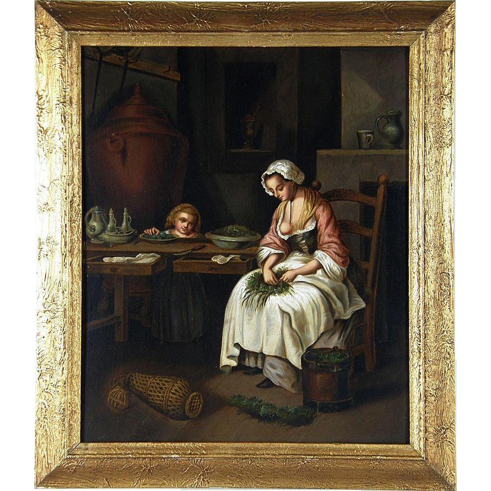 Mid 19th Century Continental School The Kitchen Maid Oil on Panel