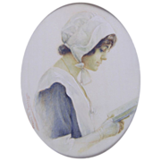 "Frances M. Needham (British fl.1911) Portrait Miniature of the Actress Miss Gertie Millar in ""A Quaker Girl"""