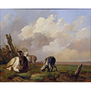 19th Century Antique Belgian School Goat with Kids in a Landscape Oil on Panel