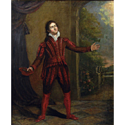 18th Century British Portrait of the Actor David Garrick (1717-1779) Antique Oil on Canvas