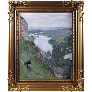 William Findlay (British/Scottish 1875-1960) - The Valley of the Seine from the Chateau Gaillard - Oil on Canvas