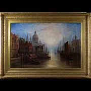 P Martin (19th Century Continental School) Venice Antique Oil on Canvas