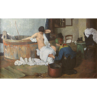 Early 20th Century French School Après le Bain Oil on Canvas