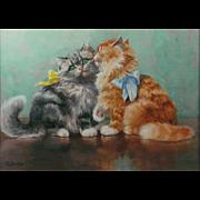 Evelyn Lina Linton (British 1888-1986) Kittens Watercolor