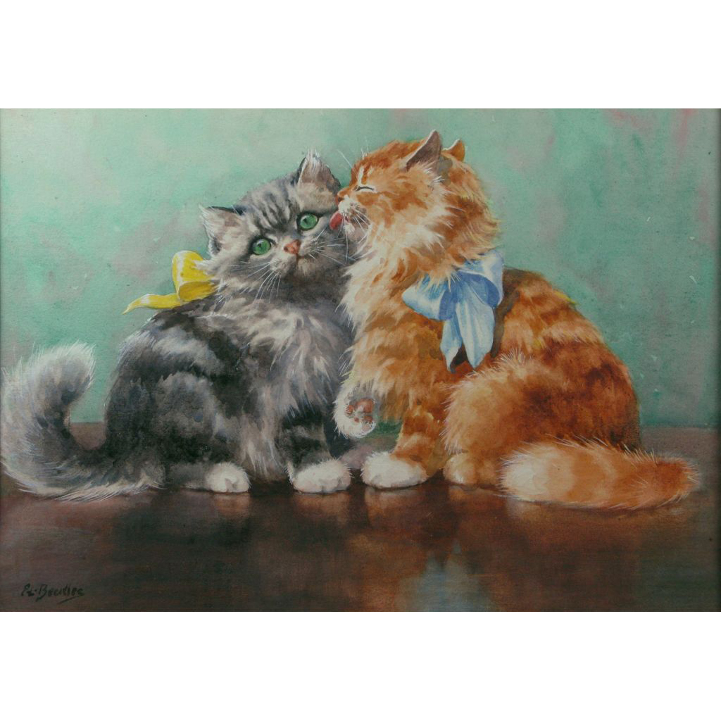 Evelyn Lina Linton (British 1888-1986) Kittens Watercolor