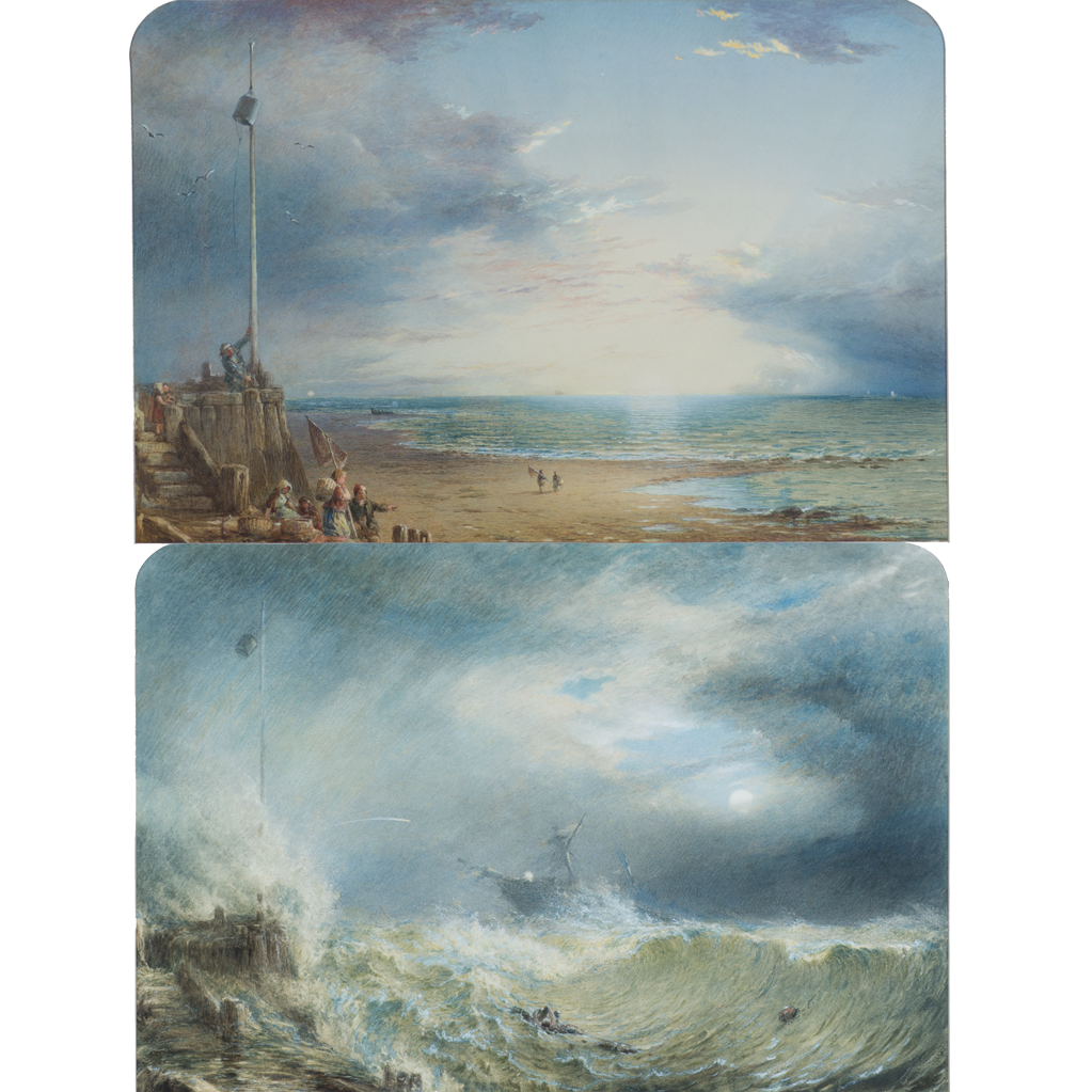 Superb Pair 19th Century English Watercolor Beach Scene Seascapes The Storm and The Calm