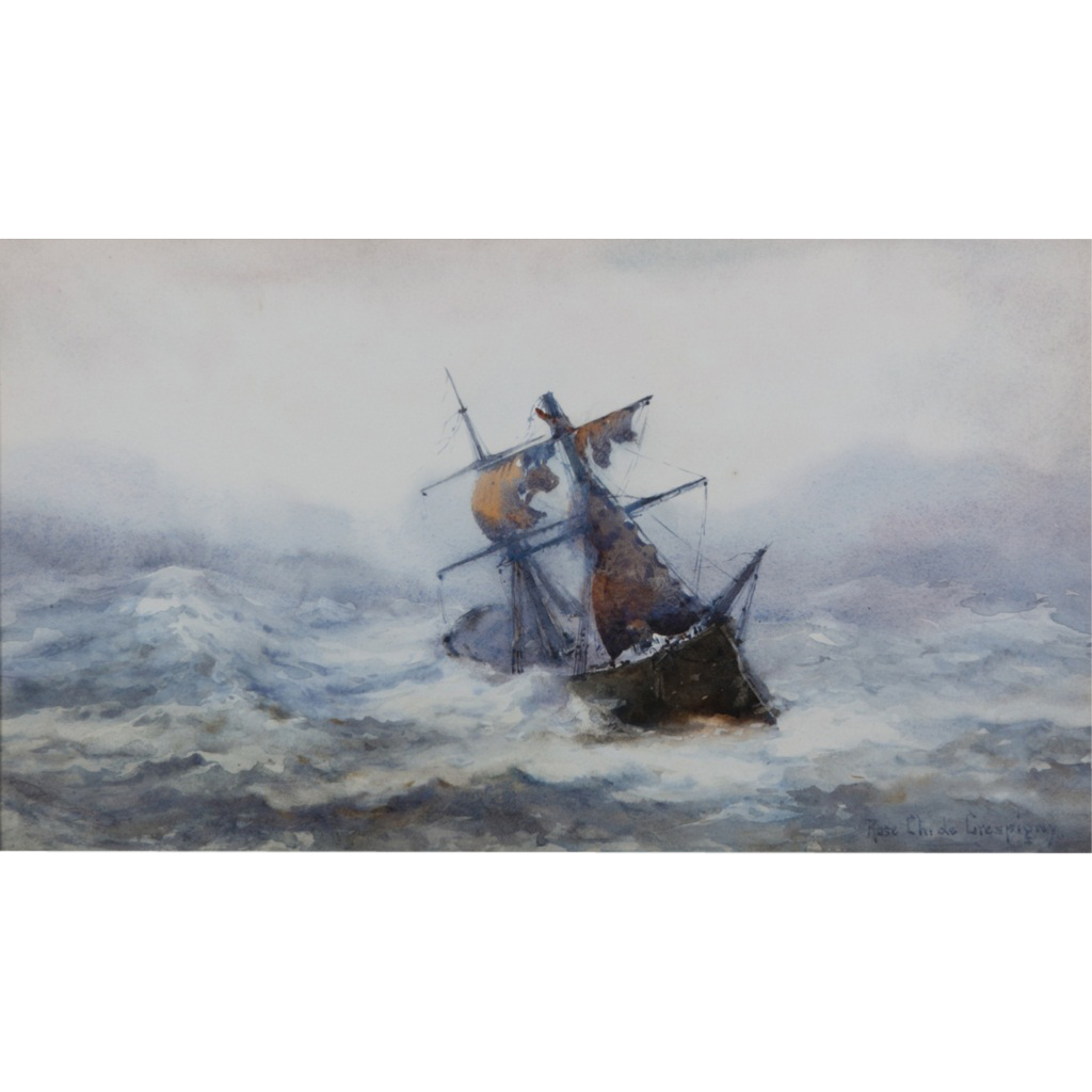 Rose Champion De Crespigny (British 1860-1935) Marine Watercolour of a Ship in a Storm