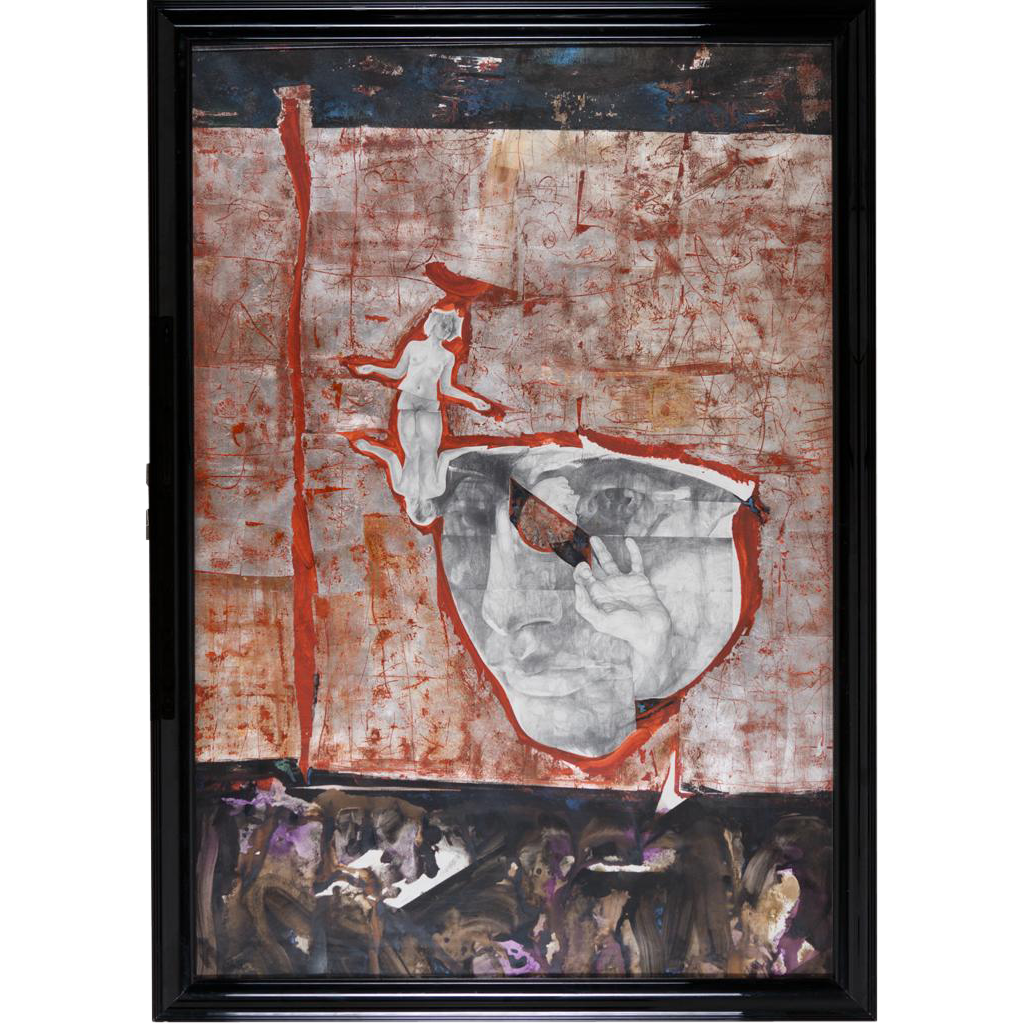 John Thein (American: Contemporary), Eyesound (1993) Large Mixed Media Painting