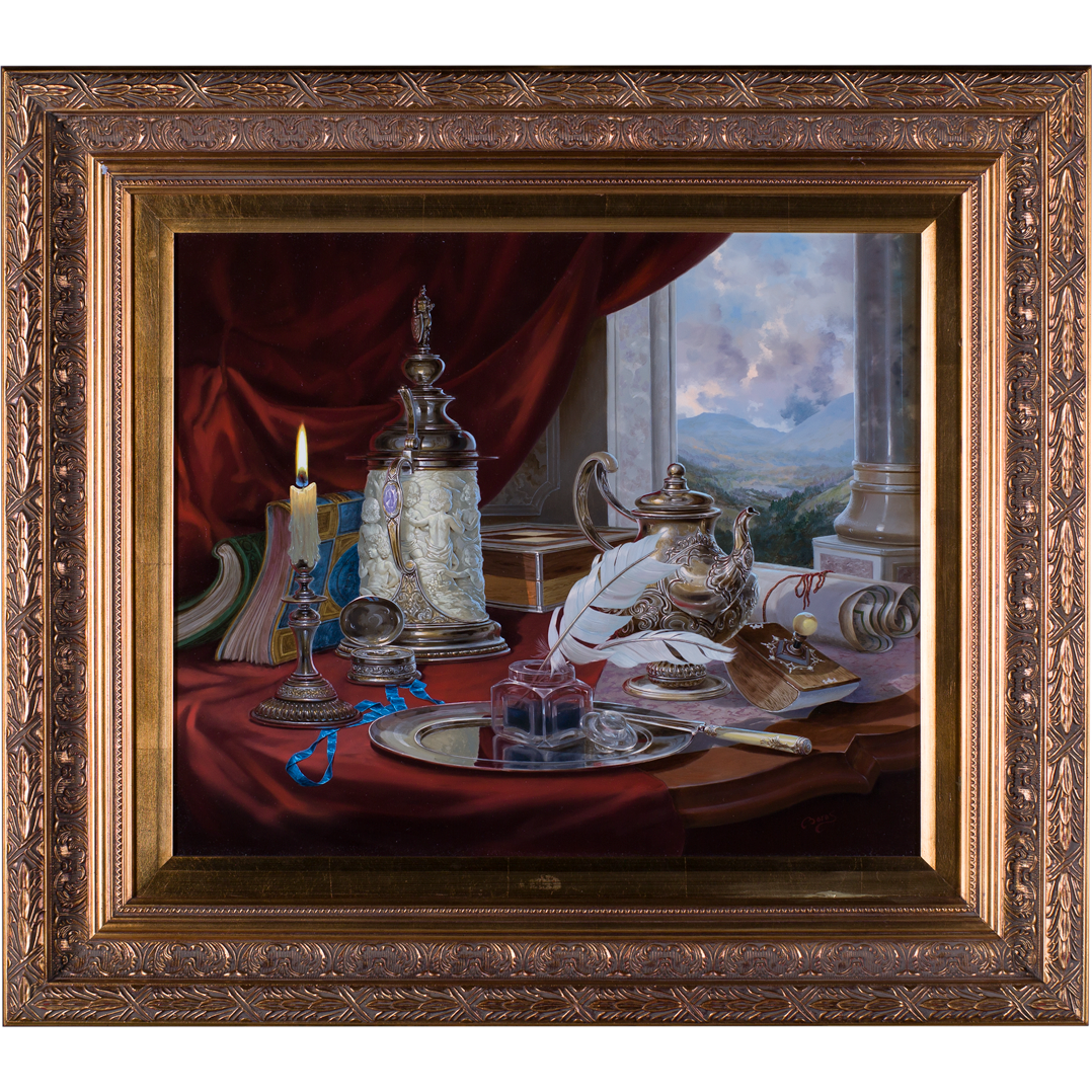 Boros Gyula (Hungarian b.1950) Still Life. Objets on a table before a classical Landscape. Oil Painting on Panel.