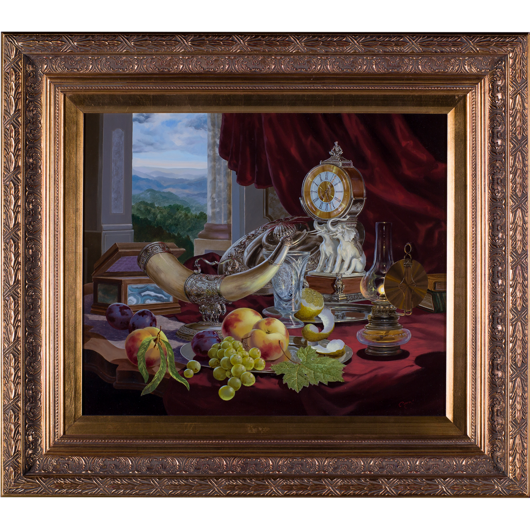 Boros Gyula (Hungarian b.1950) Still Life. Objets and Fruit on a table before a classical landscape. Oil Painting on Panel.