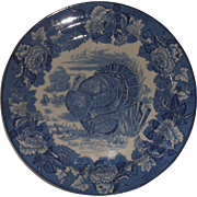 Blue and White Turkey Plate Woods England