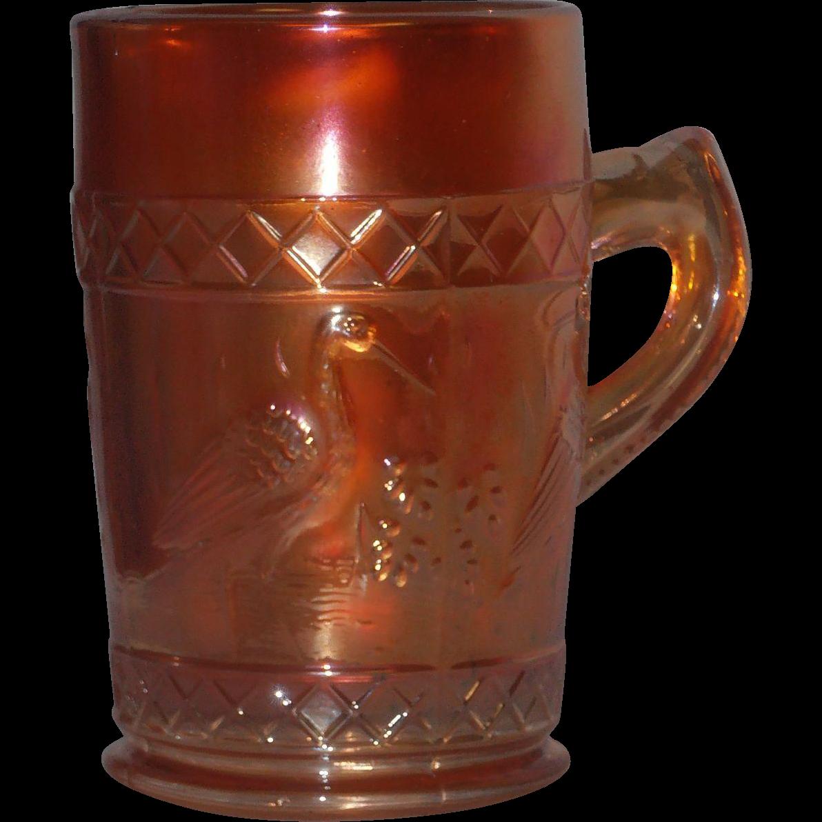 """Carnival Glass Mug """"Stork in Rushes"""" Dugan"""