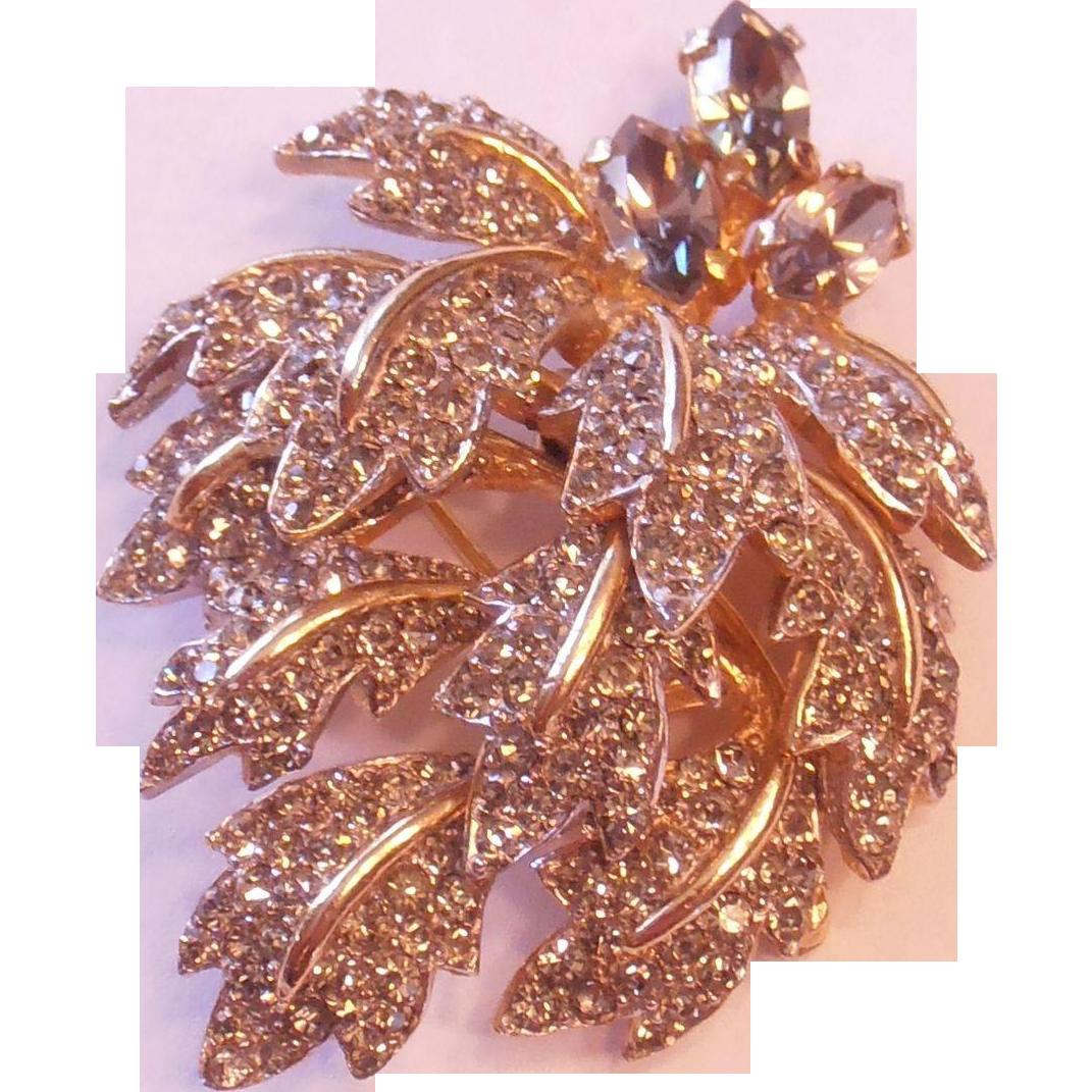 Leaf Cluster Rhinestone Brooch Castlecliff