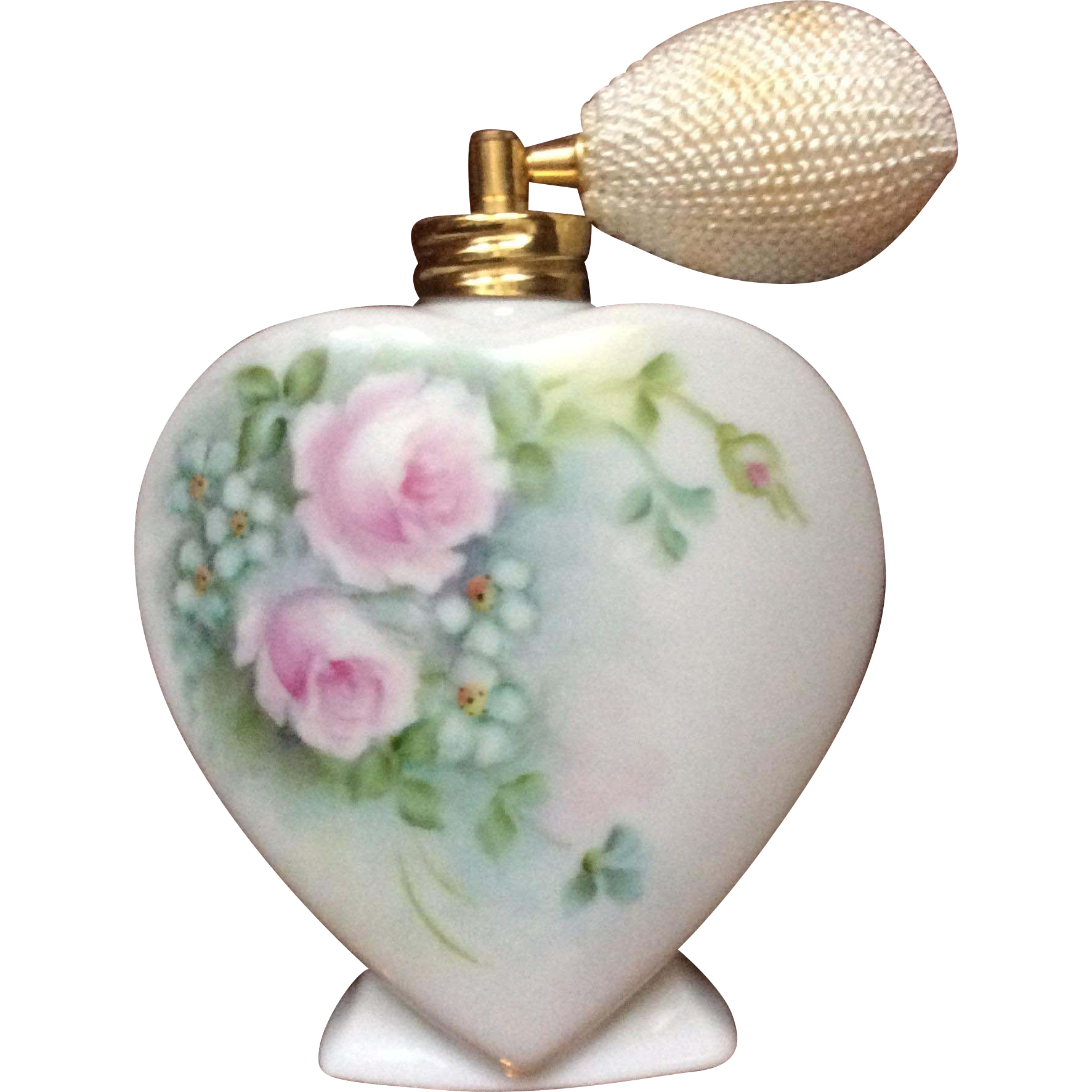Heart perfume bottle hand painted sold on ruby lane for Hand painted bottles