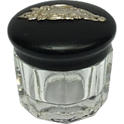 Vanity Jar Glass, Ebony, Silver Cartouche