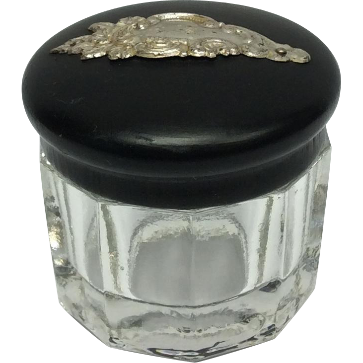 Vanity Jar Glass, Ebony, Silver Cartouche