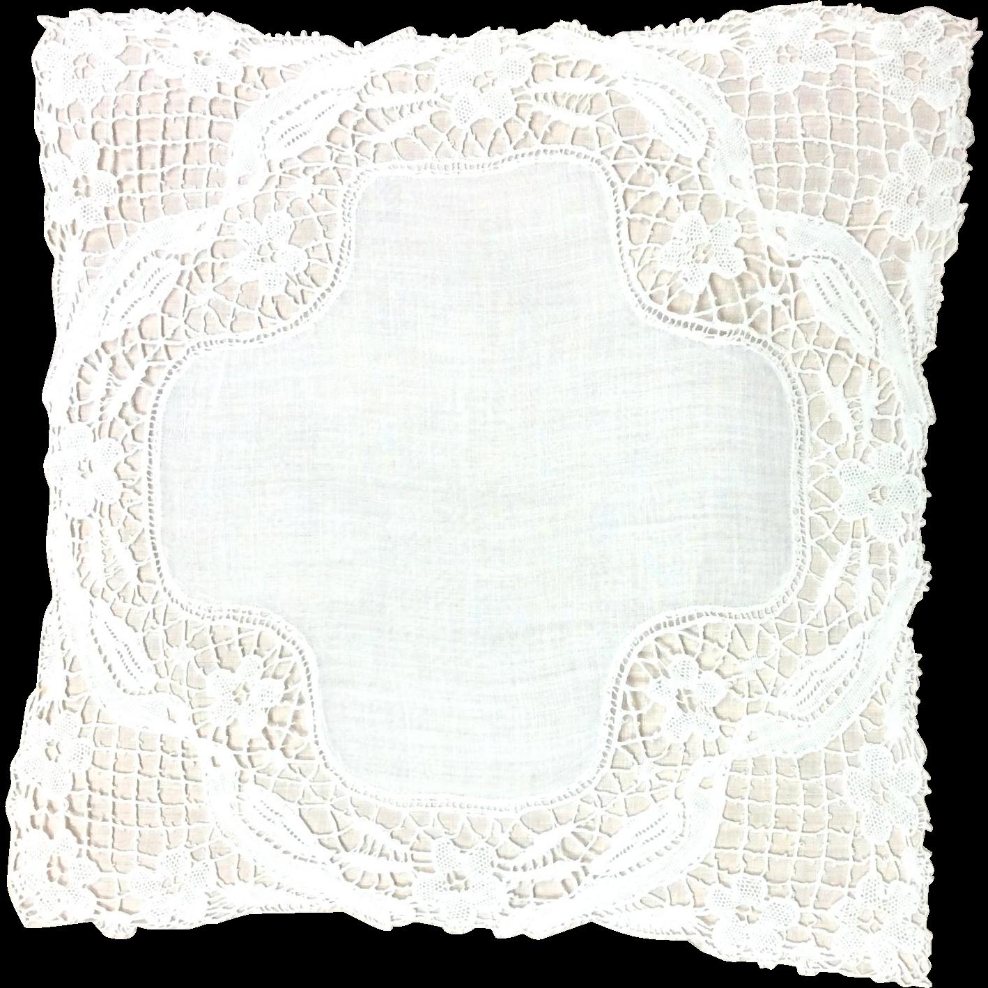 Love Birds Lace Handkerchief
