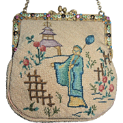 Petit-point Purse Jewel Frame Asian Motif