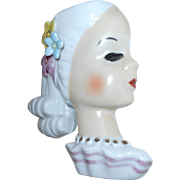 Lady Head Wall Pocket Vase Japan