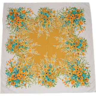 Floral Print Tablecloth 1950 - 60's