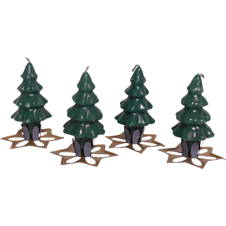 Christmas Tree Candles Tin Holders