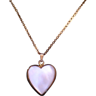 Heart Locket Necklace MOP GF