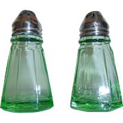 Depression Glass Salt & Pepper Shakers Hazel Atlas