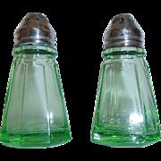 Depression Glass Salt & Pepper Shakers Hazel Atlas