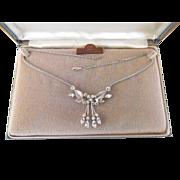 Krementz Rhinestone Necklace Gold Overlay Orig. Box