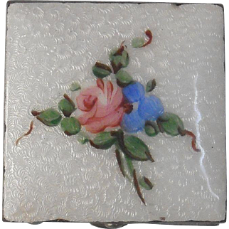 Guilloche Hand Painted Box Rose Forget Me Not