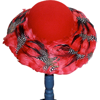 Red Wool Hat Feathers Bollman