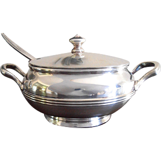 Hotel Silver Covered Bowl with Spoon