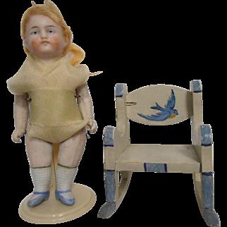 Bisque Doll Blue Bird Chair