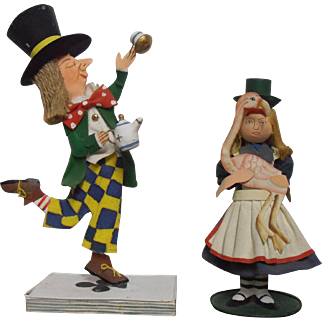 Mad Hatter and Alice Metal Art Figures