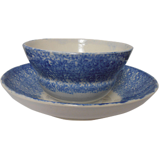 Spongeware Cup and Saucer Blue on White