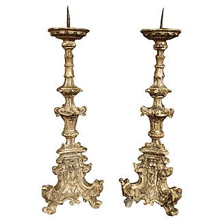 Pair of 17th Century Italian Giltwood Candlesticks