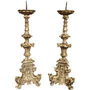 Pair of 17th Century Italian Giltwood Candlesticks