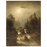Antique European Oil on Canvas, River Landscape, 19th Century