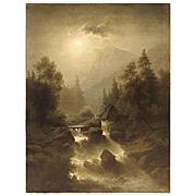 Antique European Oil on Canvas, River Landscape, 19th Century